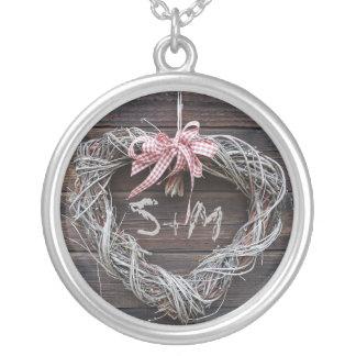 Herz-Monogramm-Initialen-rustikale Halskette