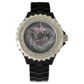 Herz-Monogramm-Uhr-rustikale Liebe Armbanduhr
