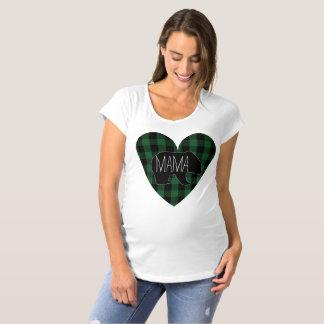 Herz Mutter-Bear Rustic Green Plaid Schwangerschafts T-Shirt
