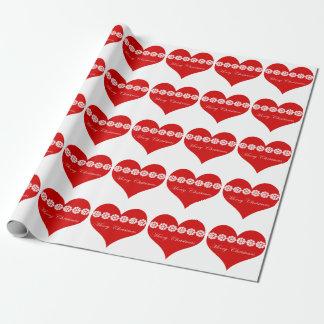 Herz-Packpapier der frohen Weihnachten Geschenkpapier