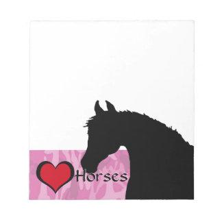 Herz-Pferd (rosa Camouflage) Notizblock