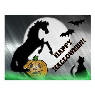 Herz-Pferde V Halloween Postkarte