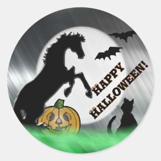 Herz-Pferde V Halloween Runder Aufkleber