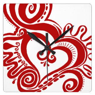 Herz-Power - Rot Quadratische Wanduhr