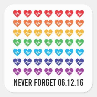 Herz-Regenbogen Orlandos starker Impuls-49 Quadratischer Aufkleber