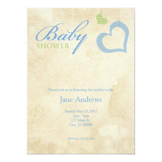 Herz reiht Babyparty - Blau u. Grün auf Individuelle Einladungskarte