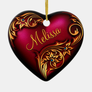 Herz-Rolle-rotes Goldpersonalisierte Verzierung Keramik Ornament