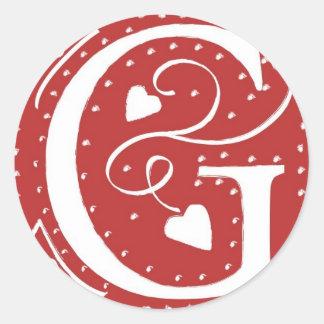 Herz-rote weiße Hochzeit des Monogramm-F färbt Runde Sticker