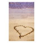 Herz-Sand-Strand-Ozean-romantischer Valentinsgruß Individuelles Büropapier