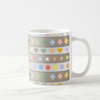 Herz-Stern-Diamant u. Punkt-Muster Kaffeetasse