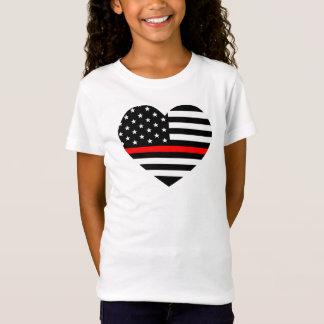 Herz-Stützfeuerwehrmann-Flagge T-Shirt
