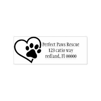 Herz Tatzen-Adressen-Etikett 2 Gummistempel