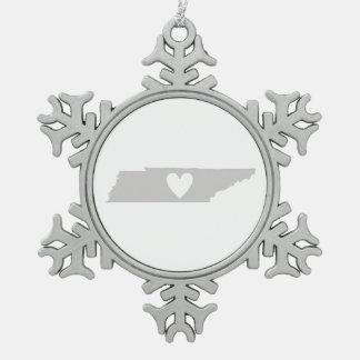 Herz-Tennessee-Staats-Silhouette Schneeflocken Zinn-Ornament