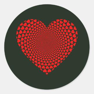 Herz-Turbulenz-Herz Runder Aufkleber