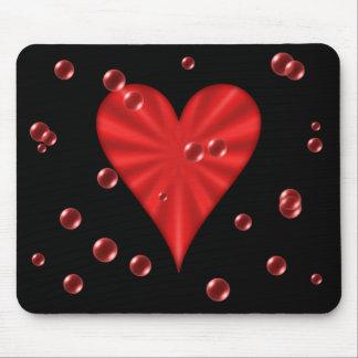 Herz u. Blasen (Schwarzes) Mauspads