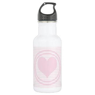 Herz u. rosa und weiße Streifen Trinkflasche