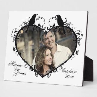Herz u. Vögel kundengerechtes Wedding Fotoplatte