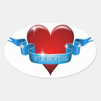 Herz und Band mischen Liebe wieder Ovaler Aufkleber
