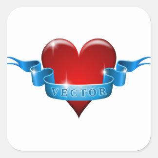 Herz und Band mischen Liebe wieder Quadratischer Aufkleber