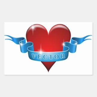Herz und Band mischen Liebe wieder Rechteckiger Aufkleber