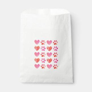 Herz-und Tatzen-Druck-Bevorzugungs-Taschen Geschenktütchen