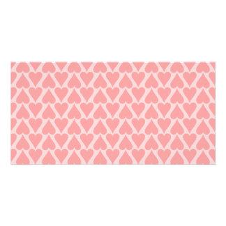 Herz-Valentinstag-Hintergrund-Korallen-Rosa Individuelle Foto Karten