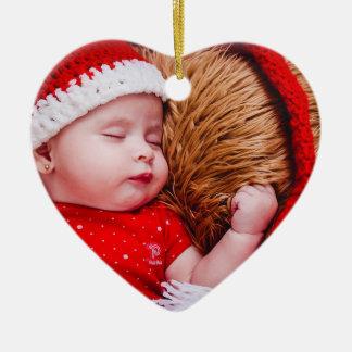 Herz-Verzierung des personalisierten Babys erste Keramik Ornament