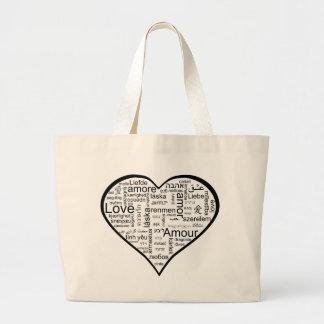 Herz voll der Liebe in den verschiedenen Sprachen Taschen