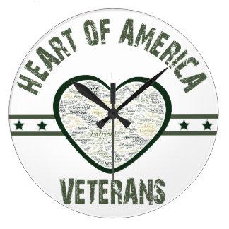 Herz von Amerika - Veterane Große Wanduhr