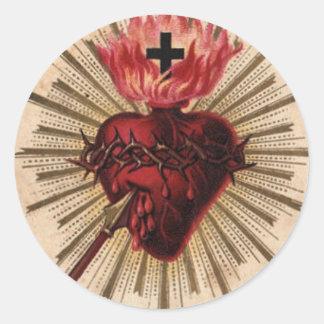 Herz von Jesus klein Runde Aufkleber