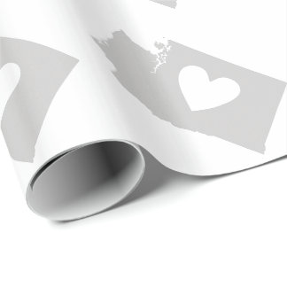 Herz-Washington-Staats-Silhouette Geschenkpapier
