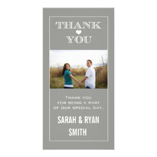 Herz-Wedding Grau danken Ihnen Foto-Karten Fotogrußkarten