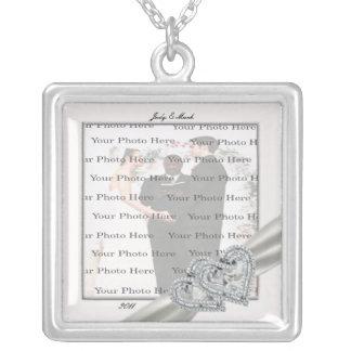 Herz-weiße Hochzeits-Quadrat-Silber-Halskette