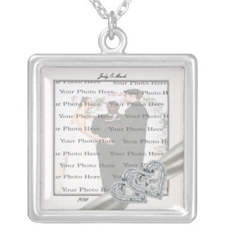 Herz-weiße Hochzeits-Quadrat-Silber-Halskette Halskette Mit Quadratischem Anhänger