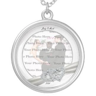 Herz-weiße Hochzeits-runde silberne Halskette