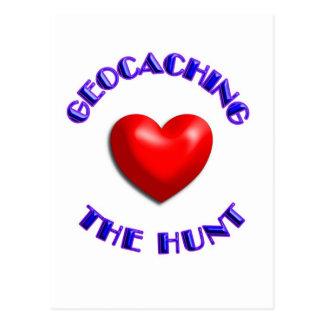 Herz, welches… die Jagd geocaching ist Postkarte