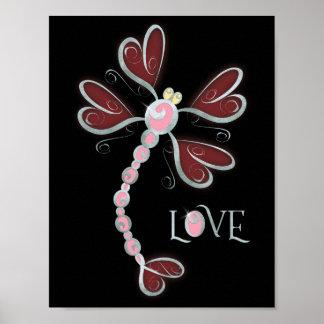 Herz-winged silberner hübscher Entwurf der Poster