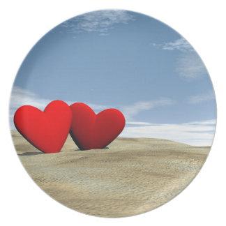 Herz zwei auf dem Strand - 3D übertragen Teller