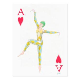 Herzass Spielkarte der Vintagen Kunst-Dekoart Postkarte