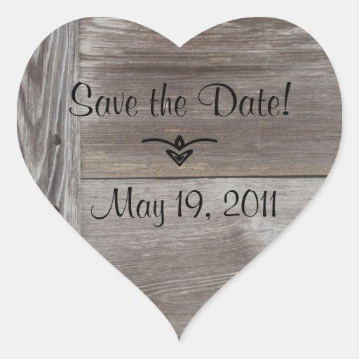 Herzaufkleber des Scheunen-Holzes Save the Date
