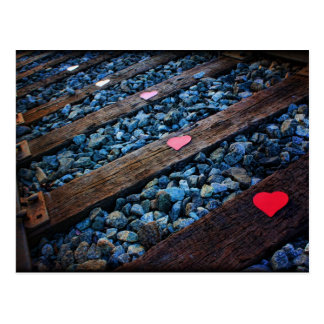 Herzen auf Bahn Postkarte