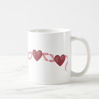 Herzen auf einem Band Kaffeetasse