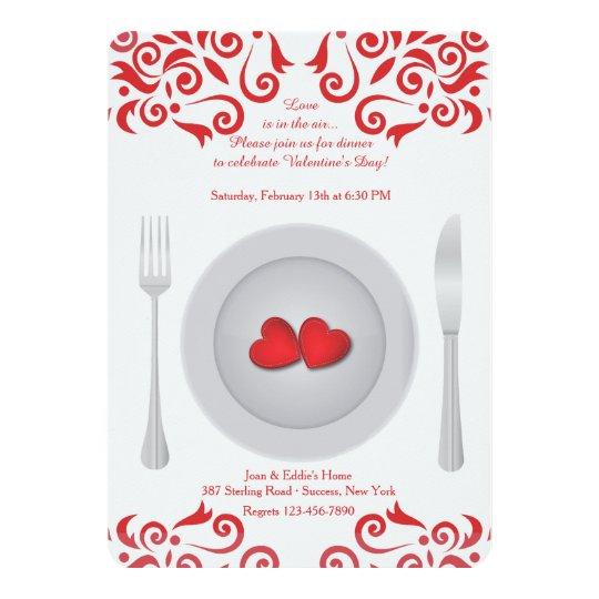 Herzen Auf Einer Platten Valentinstag Einladung Einladung Zazzle