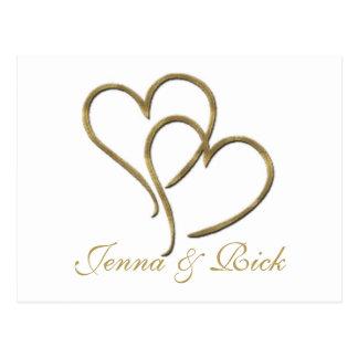 Herzen aus Gold Postkarte