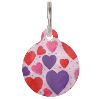 Herzen des Valentines Tagesim Rosa, lila u. rot Haustiermarke