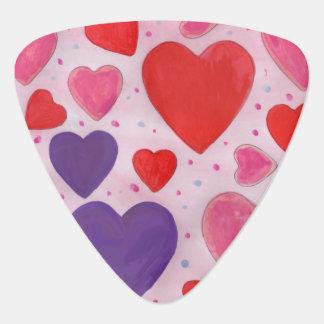 Herzen des Valentines Tagesim Rosa, lila u. rot Plektrum