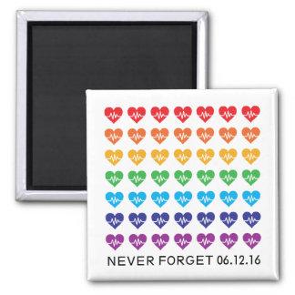 Herzen eines Orlandos eins Impuls-Regenbogen-49 Quadratischer Magnet
