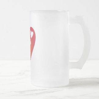 Herzen Mattglas Bierglas