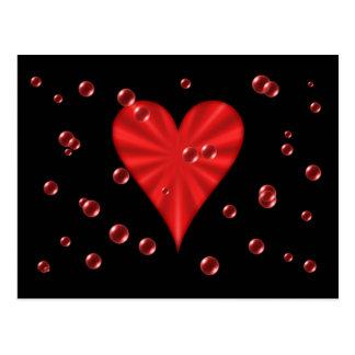 Herzen u. Blasen (Schwarzes) Postkarten