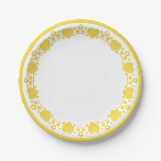 Herzen u. Polka-Punkte gelb u. weiße Pappteller